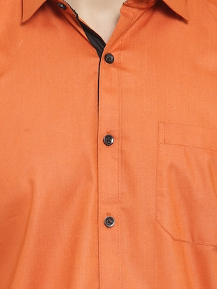 solid orange casual shirt - 15755125 - Standard Image - 5