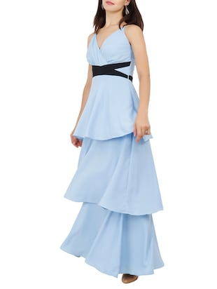 Criss-cross belted layered maxi dress - 15759435 - Standard Image - 2