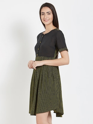 Buy Polka Dotted Pleated Dress by Mystere Paris - Online shopping ... 9440f1880