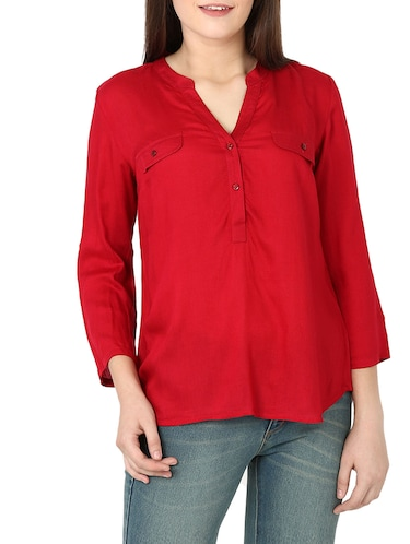 8df4ee1a4a6cc Buy Red Cold Shoulder Top for Women from Colormode for ₹1529 at 55 ...