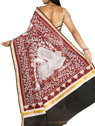 conversational printed saree with blouse - 15770062 - Standard Image - 2