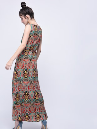 self tie sleeveless maxi dress - 15770570 - Standard Image - 2