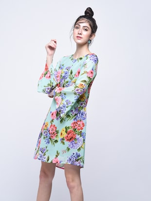 floral bell sleeves a-line dress - 15770576 - Standard Image - 2