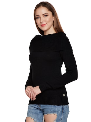 ribbed overlay boat neck pullover - 15773357 - Standard Image - 2