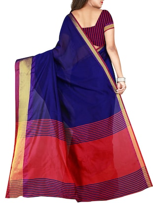 blue cotton woven saree with blouse - 15773432 - Standard Image - 2