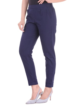 navy blue gathered back trousers - 15784927 - Standard Image - 2