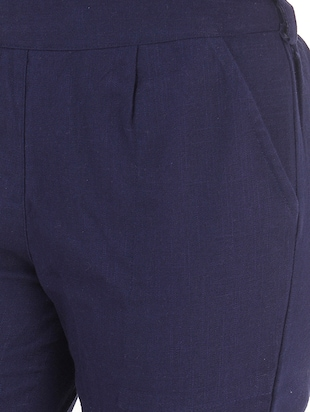 navy blue gathered back trousers - 15784927 - Standard Image - 5