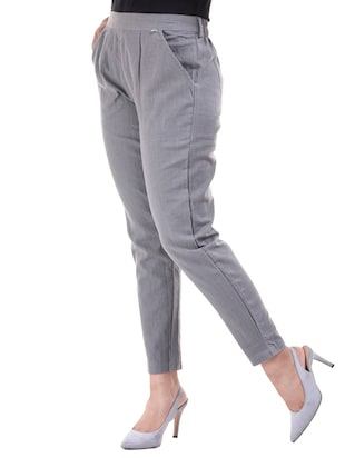 Pleated front gathered back trousers - 15784933 - Standard Image - 2