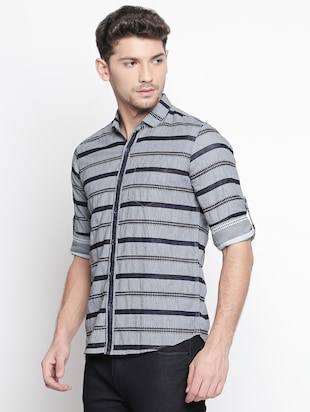 grey striped casual shirt - 15791625 - Standard Image - 2