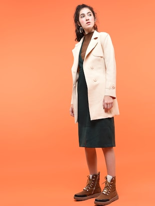 tie up waist double breasted overcoat - 15800329 - Standard Image - 2