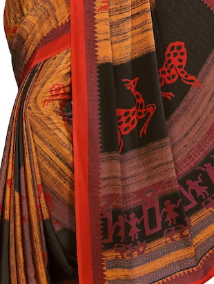 conversational print on print saree with blouse - 15806031 - Standard Image - 2