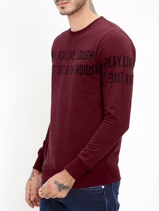 maroon cotton chest print t-shirt - 15812445 - Standard Image - 2