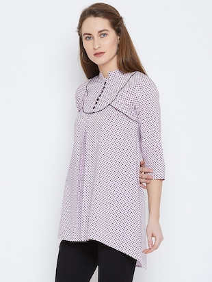 piping detail high low tunic - 15814355 - Standard Image - 2