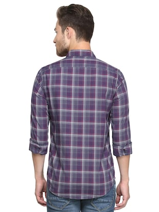 purple checkered casual shirt - 15814428 - Standard Image - 2