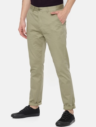 green cotton chinos - 15815351 - Standard Image - 2