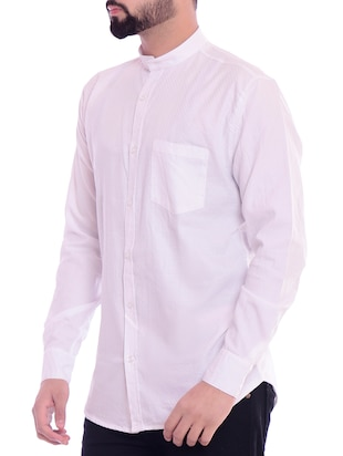 white solid casual shirt - 15815689 - Standard Image - 2