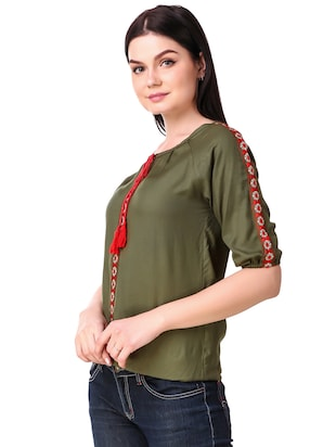 Tassel tie neck embroidered top - 15816380 - Standard Image - 2