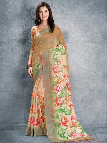 digital floral printed linen saree with blouse - 15817384 - Standard Image - 1