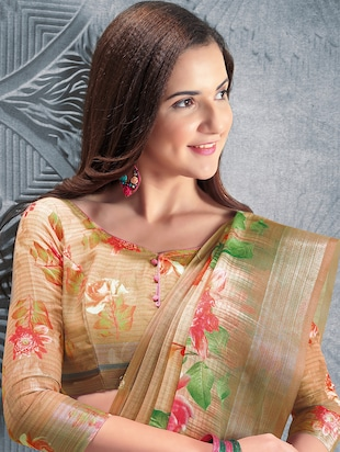 digital floral printed linen saree with blouse - 15817384 - Standard Image - 2