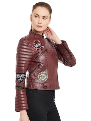 Graphic patch quilted sleeved biker jacket - 15817657 - Standard Image - 2
