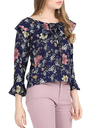 tie-up ruffle detail floral top - 15818757 - Standard Image - 2