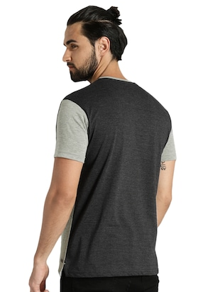 grey color block t-shirt - 15819297 - Standard Image - 2