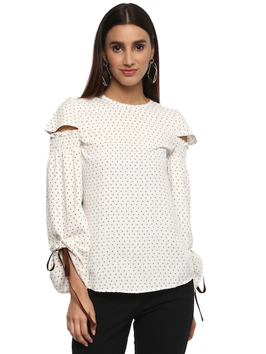 8f36655533d Buy White Printed Crepe Top by Fabulous Me - Online shopping for Tops in  India