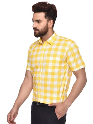 yellow checkered  casual shirt - 15829394 - Standard Image - 2