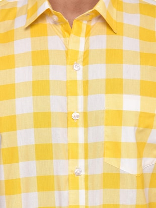 yellow checkered  casual shirt - 15829394 - Standard Image - 5