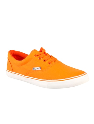 orange Canvas lace up sneakers - 15834224 - Standard Image - 2