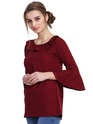 ruffle detail bell sleeved top - 15841641 - Standard Image - 2