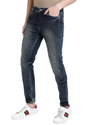 blue cotton blend washed jeans - 15843153 - Standard Image - 2