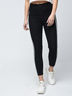 knee slit side stripe jeans - 15859290 - Standard Image - 2
