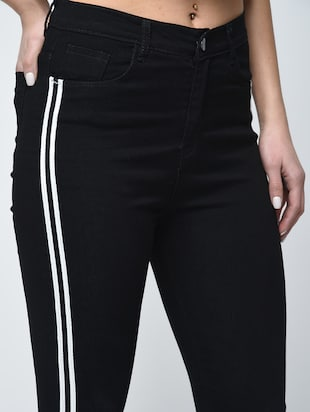 knee slit side stripe jeans - 15859290 - Standard Image - 5