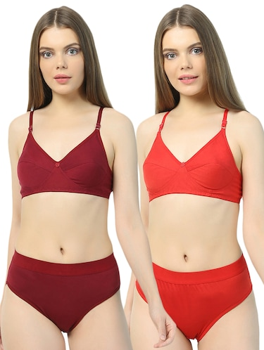 7735a528af Buy Set Of 3 Multicolored Solid Bra And Panty Sets by Baremoda ...
