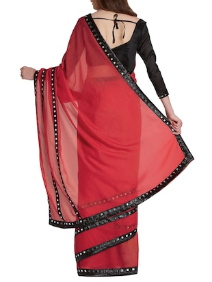 mirror work bordered saree with blouse - 15860788 - Standard Image - 2