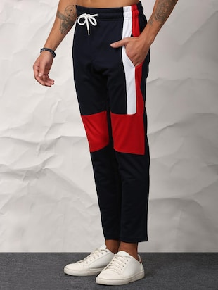 blue cotton ankle length track pant - 15871874 - Standard Image - 2