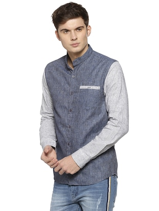 blue cotton casual shirt - 15876866 - Standard Image - 2