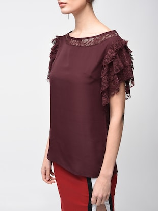 laced panel ruffle detail top - 15881803 - Standard Image - 5