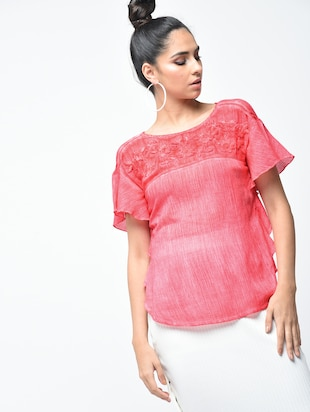 embroidered yoke lace insert top - 15882552 - Standard Image - 2