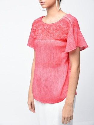 embroidered yoke lace insert top - 15882552 - Standard Image - 5