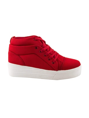 red lace-up sneakers - 15883805 - Standard Image - 2