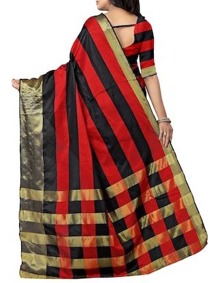 Color block zari bordered saree with blouse - 15885199 - Standard Image - 2