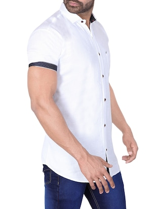 white solid casual shirt - 15890536 - Standard Image - 2