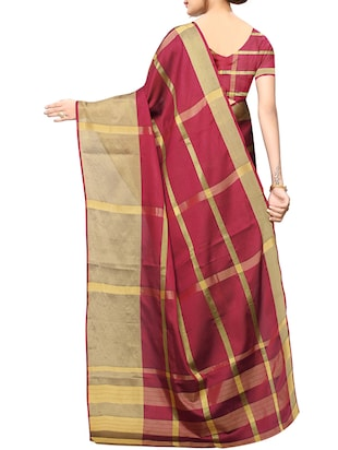 striped woven saree with blouse - 15890594 - Standard Image - 2
