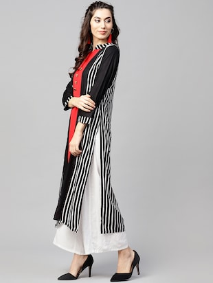 Stripes straight kurta - 15897806 - Standard Image - 2