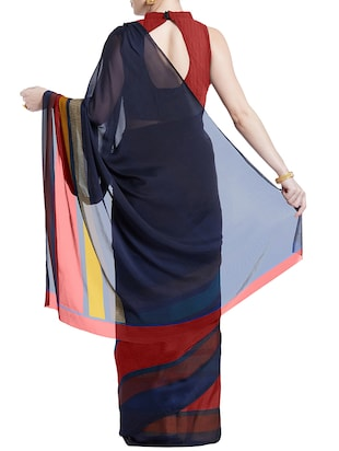 striped printed saree with blouse - 15899912 - Standard Image - 2