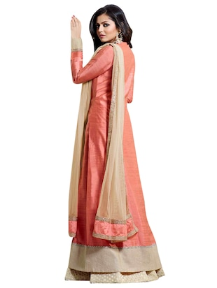 Embroidered semi-stitched skirt suit - 15900101 - Standard Image - 2