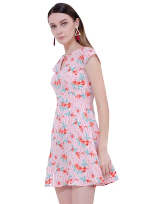 Floral key hole front flared dress - 15902028 - Standard Image - 2