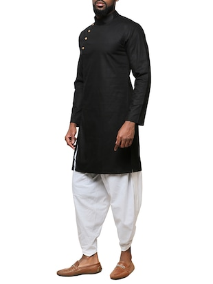 black cotton long kurta - 15911574 - Standard Image - 2